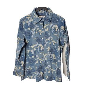 4/$40Caribbean Joe Women's Blue Floral Button Down